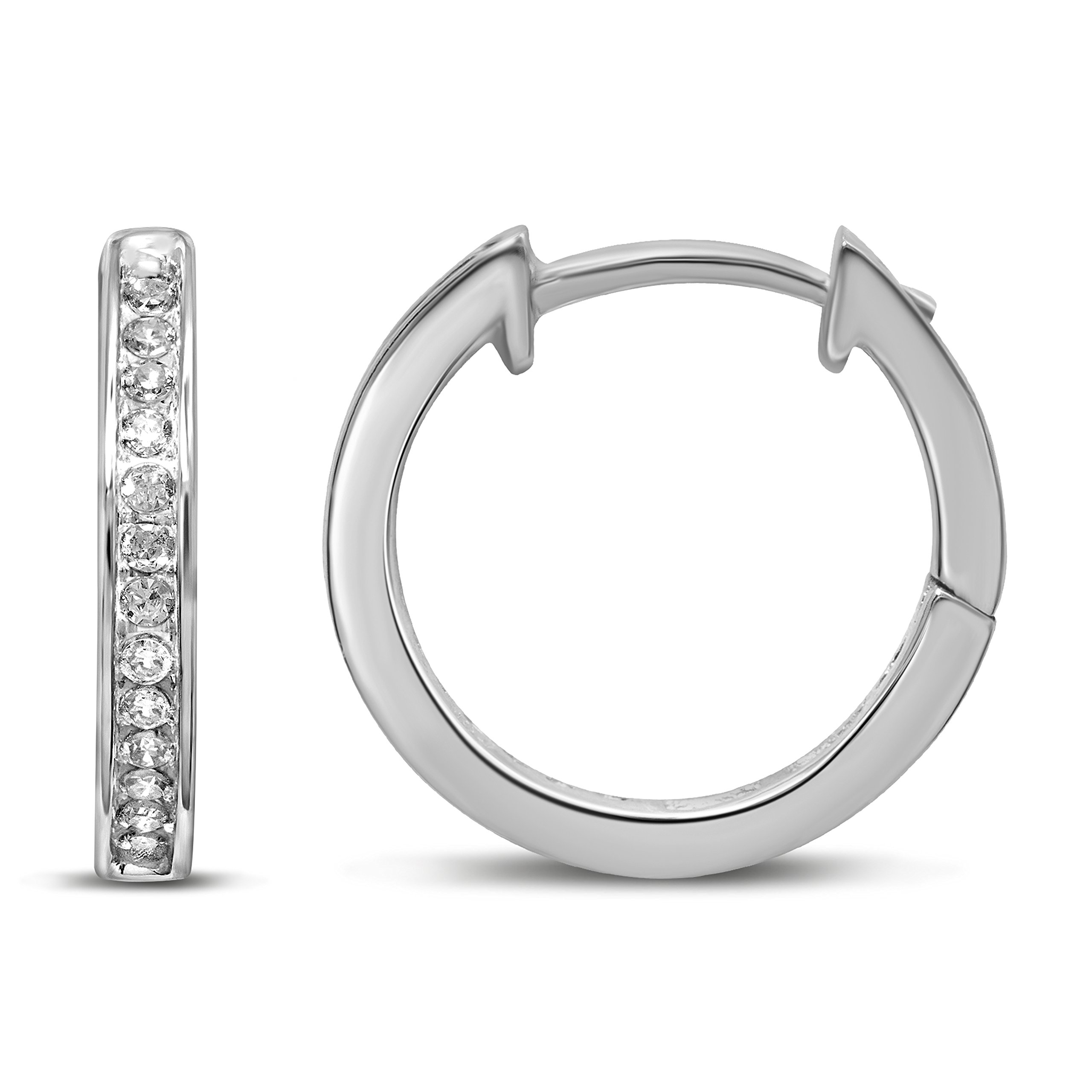 Diamond Jewel 10K White Gold 1/10 cttw Diamond Huggy Hoop Earrings