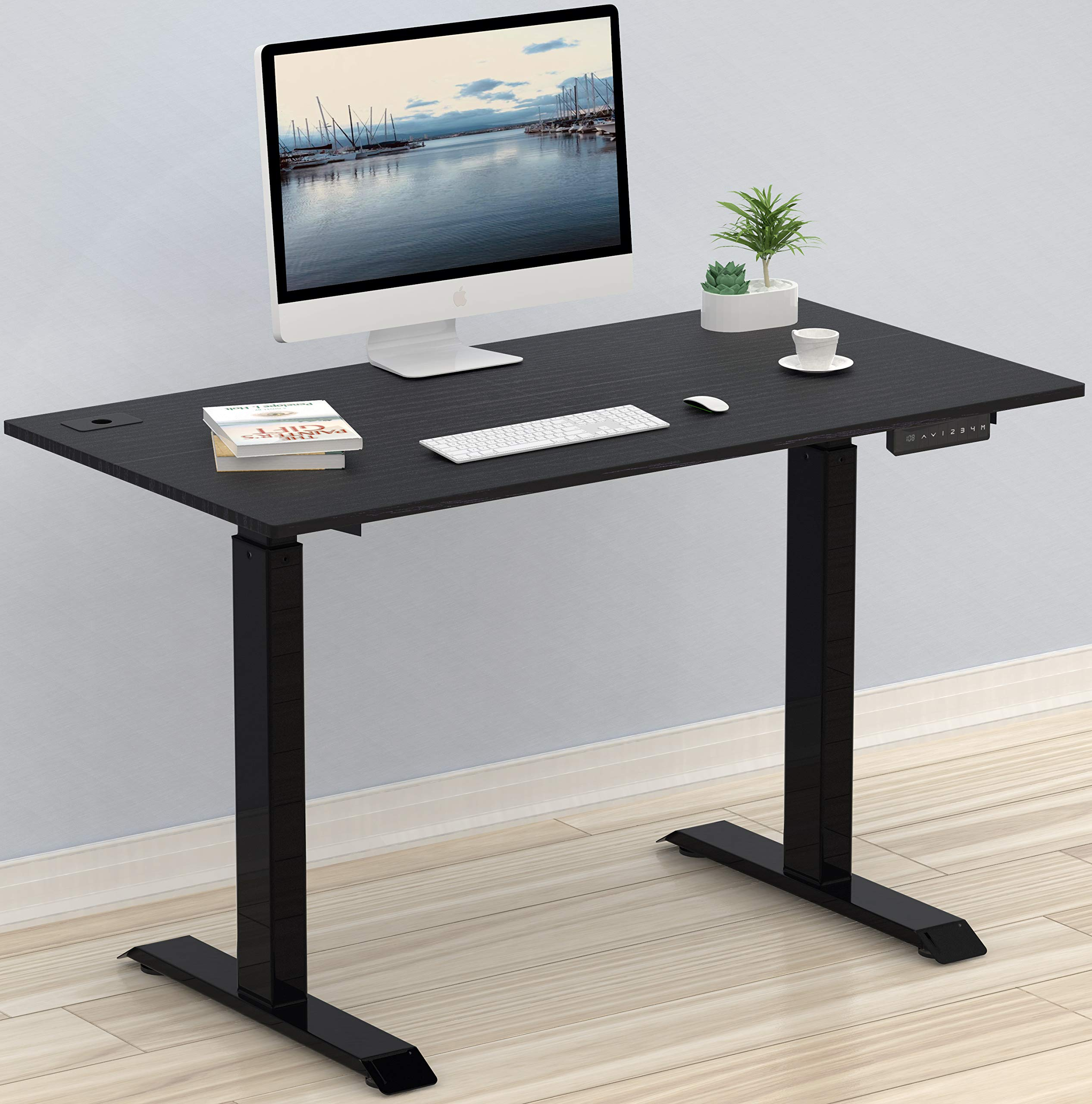 SHW Electric Height Adjustable Computer Desk, 48 x 24 Inches, Black by SHW