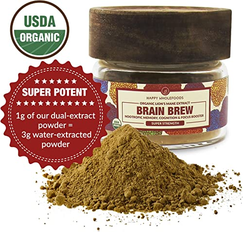 Brain Brew Lions Mane Powder - Lions Mane Mushroom Extract - High Potency USDA Certified Organic Lions Mane - Boosts Memory, Optimizes Brain Function, Improves Nerve Health - 1oz 30g