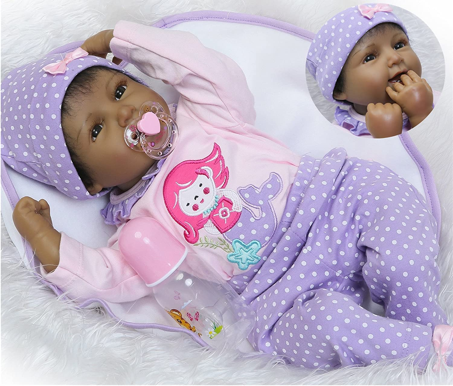 African American Baby Reborn Dolls Cute Silicone Black Newborns Look Real 22/""