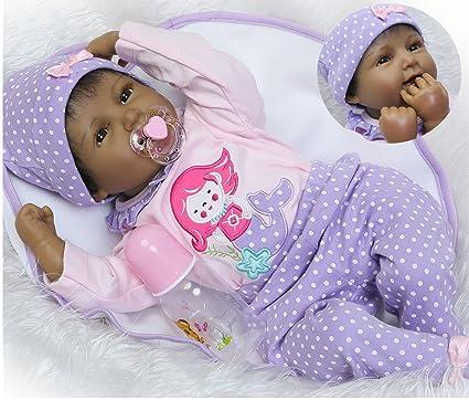 22/'/' Reborn Baby Girl Black Doll Handmade Lifelike Dolls Kids Toy Birthday Gift