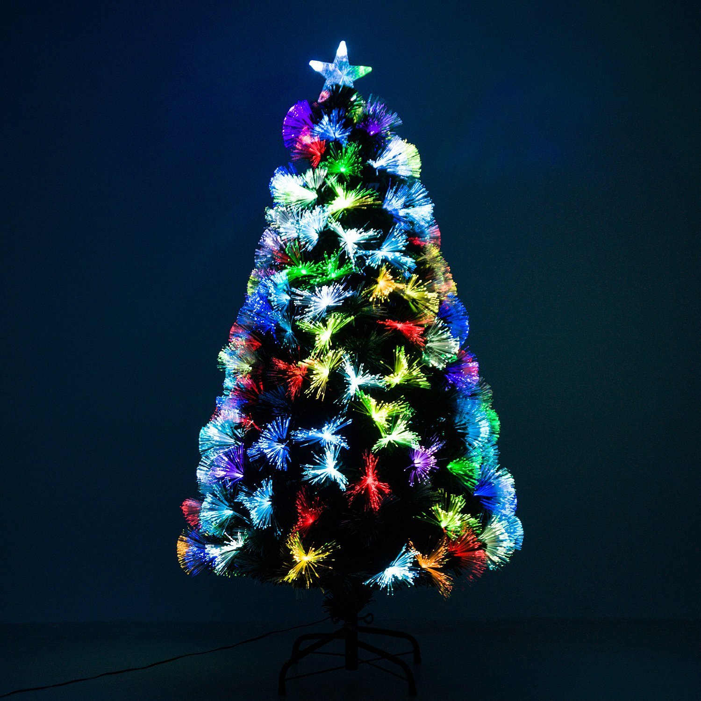 d022f909b18ca HOMCOM Árbol de Navidad 120cm Artificial Árboles con 130 Luces LED 7 Colores  y Estrella Decorativa Brillante Árbol con Soporte Fibra Óptica  Amazon.es   ...