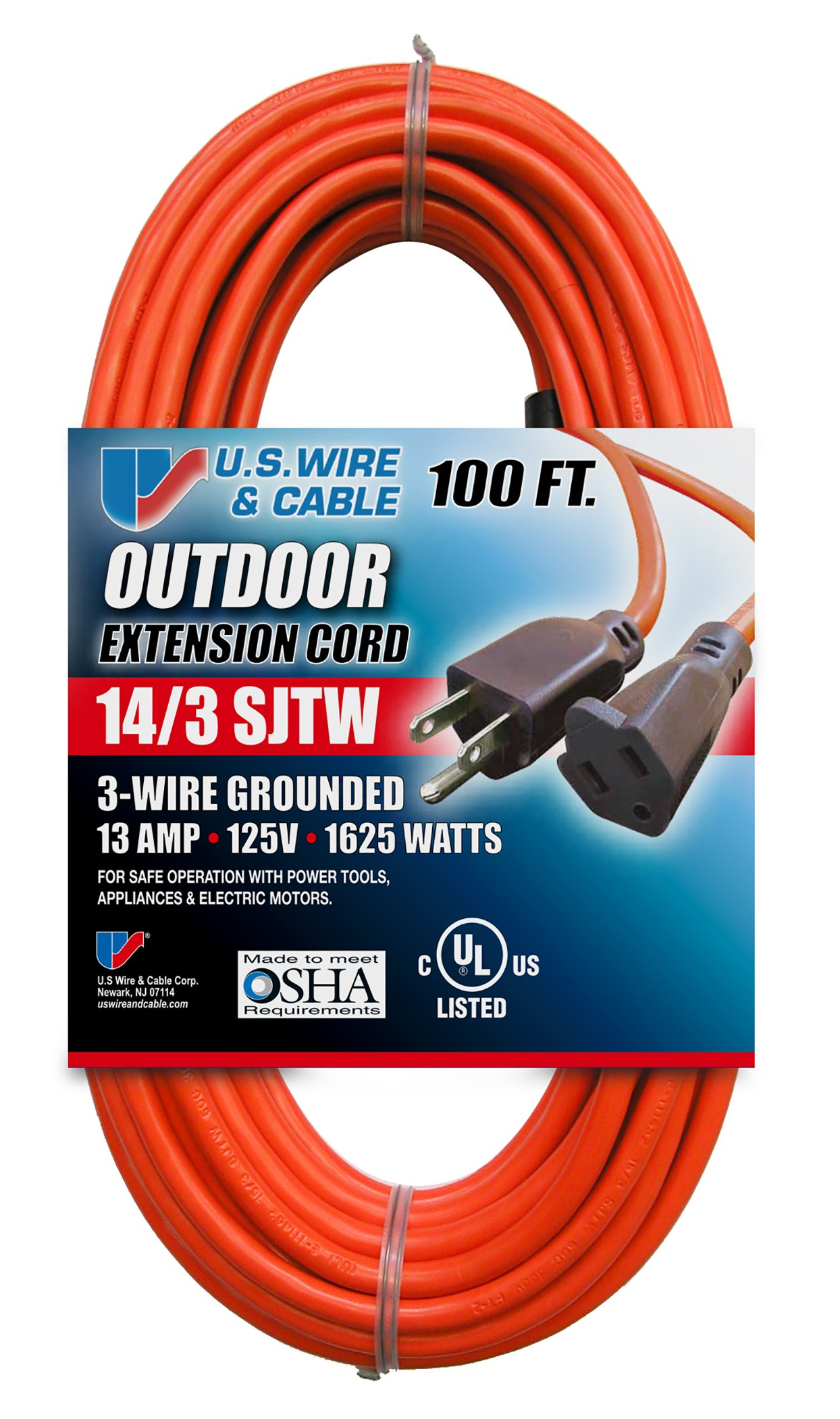US Wire 63100 14/3 100-Foot SJTW Orange Medium Duty Extension Cord by US Wire and Cable