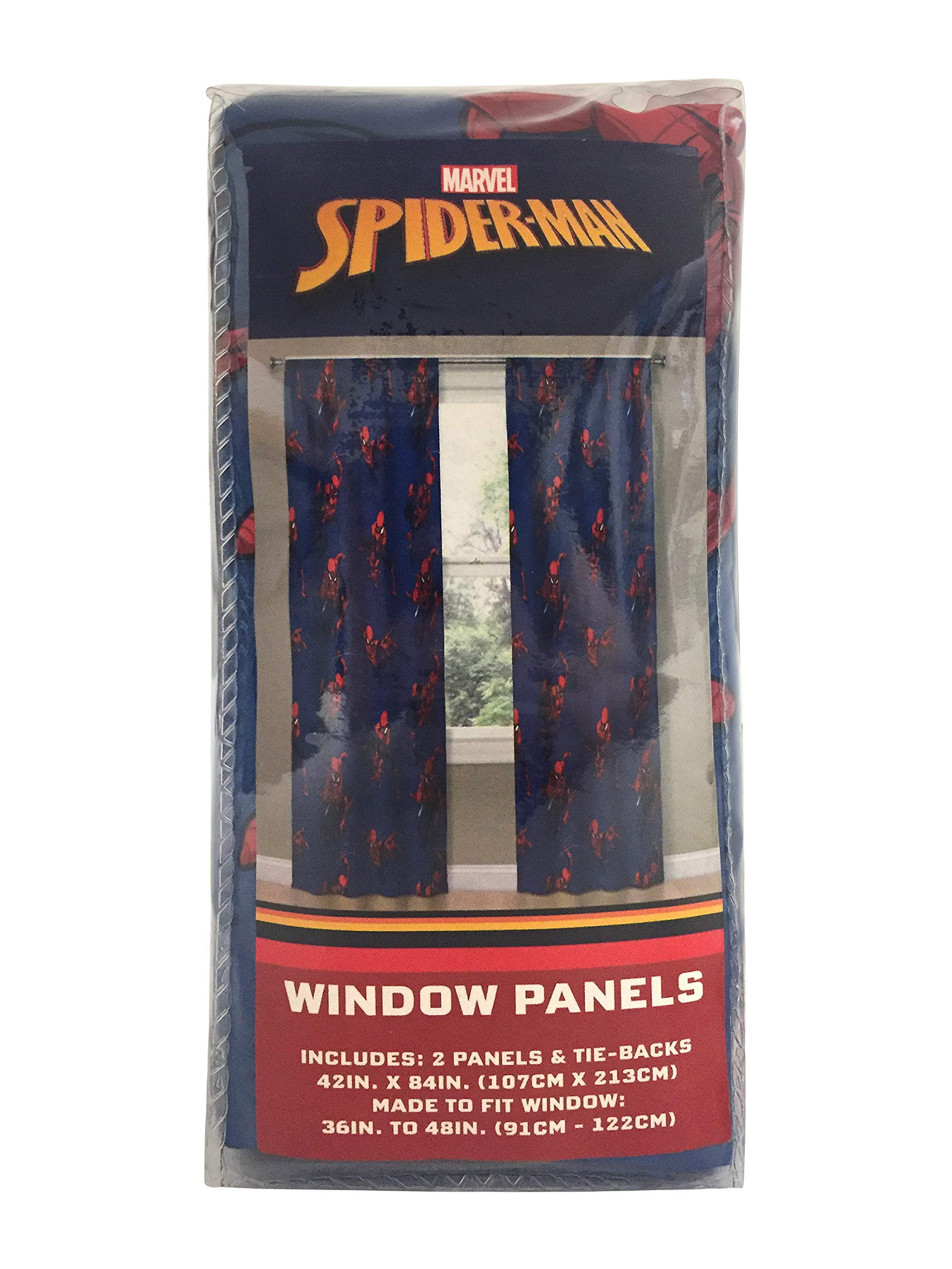 Jay Franco Marvel Spiderman Spidey Crawl Blue 63'' inch Drapes 4 Piece Set - Beautiful Room Décor & Easy Set up - Window Curtains Include 2 Panels & 2 Tiebacks (Official Marvel Product) by Jay Franco