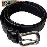 Einkaufszauber Echt Leder Gürtel mit Geheimfach Schwarz Topqualität - Tresorgürtel Geldgürtel