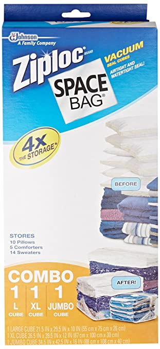 Space Bag BR 86123 4 Vacuum Seal Cube Shaped Storage Bags,