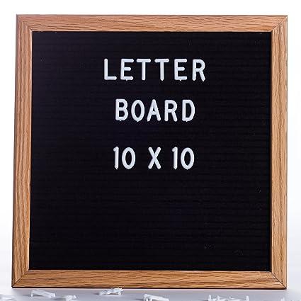 Amazon.com : Letter Board -10 x 10 inch Premium Oak frame with Black ...