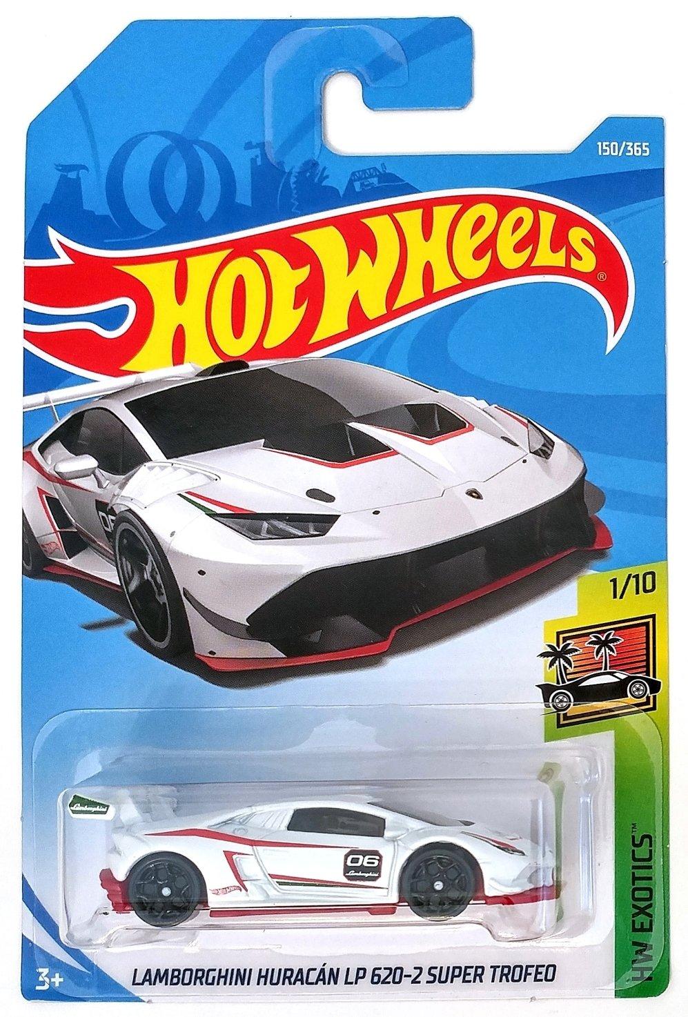Hot Wheels 2018 Lamborghini Huracan LP 620-2 Super Trofeo HW Exotics White 150/365, Long Card by Mattel