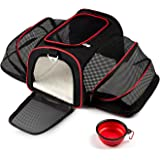 Cat Carrier, PETPAWJOY Airline Approved Pet Carrier Dog Puppy Carriers, Soft Sided Crate Dog Travel Bag for small Dog & large Cats