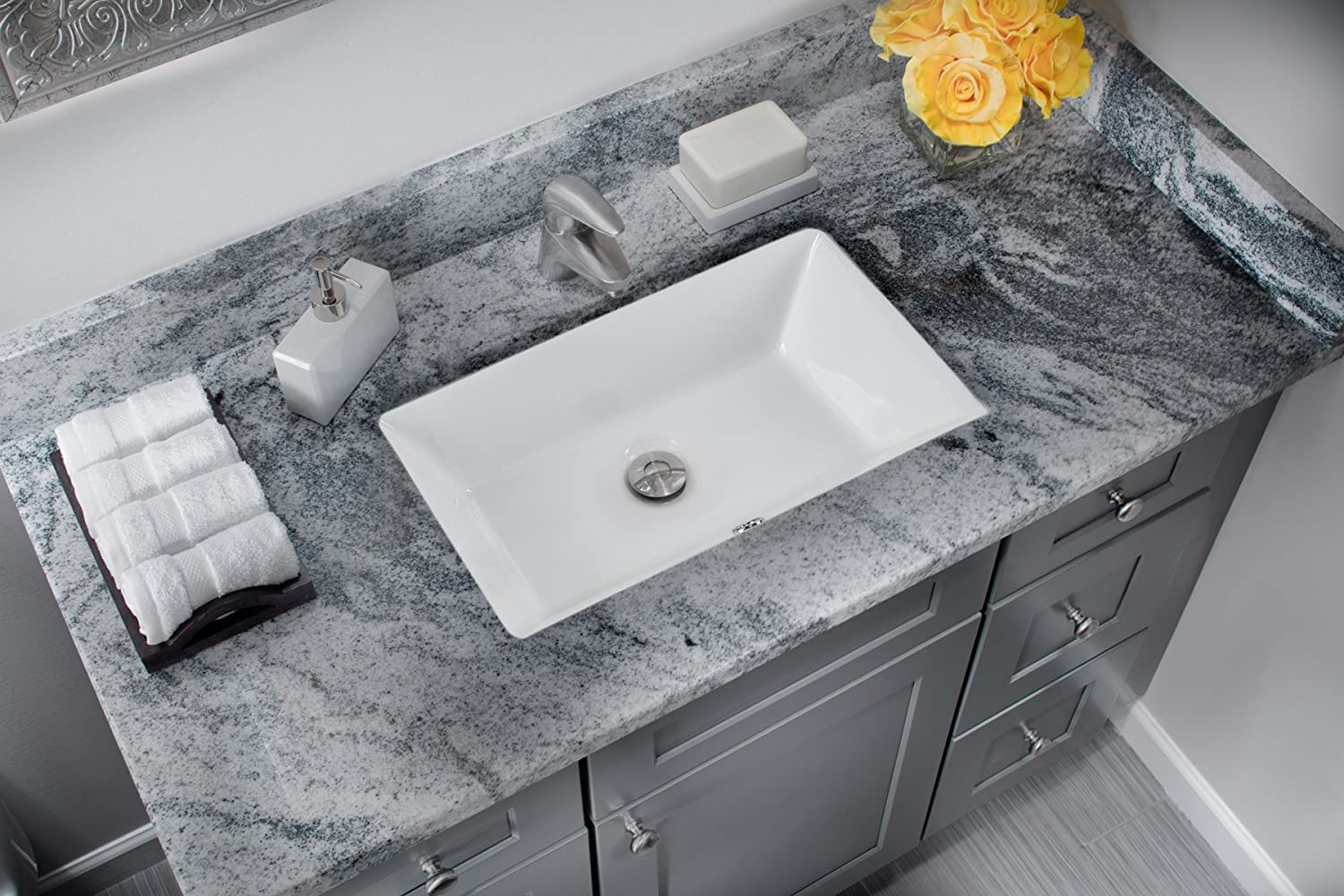Bathroom available in 5 finishes vessel bathroom sinks msrp 425 - 1181cbw 18 X11 White Rectangular Porcelain Undermount Bathroom Sink Vanity Sinks Amazon Com