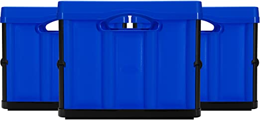 amazoncom clevermade 46 liter collapsible storage solid wall utility baskettote royal blue 3 pack home improvement