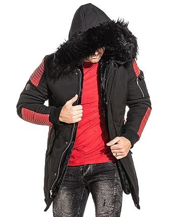 PROJECT X - Parka Homme Long Noir Simili Cuir Rouge Fourrure - Couleur  Noir  - 5ff28b771fdf