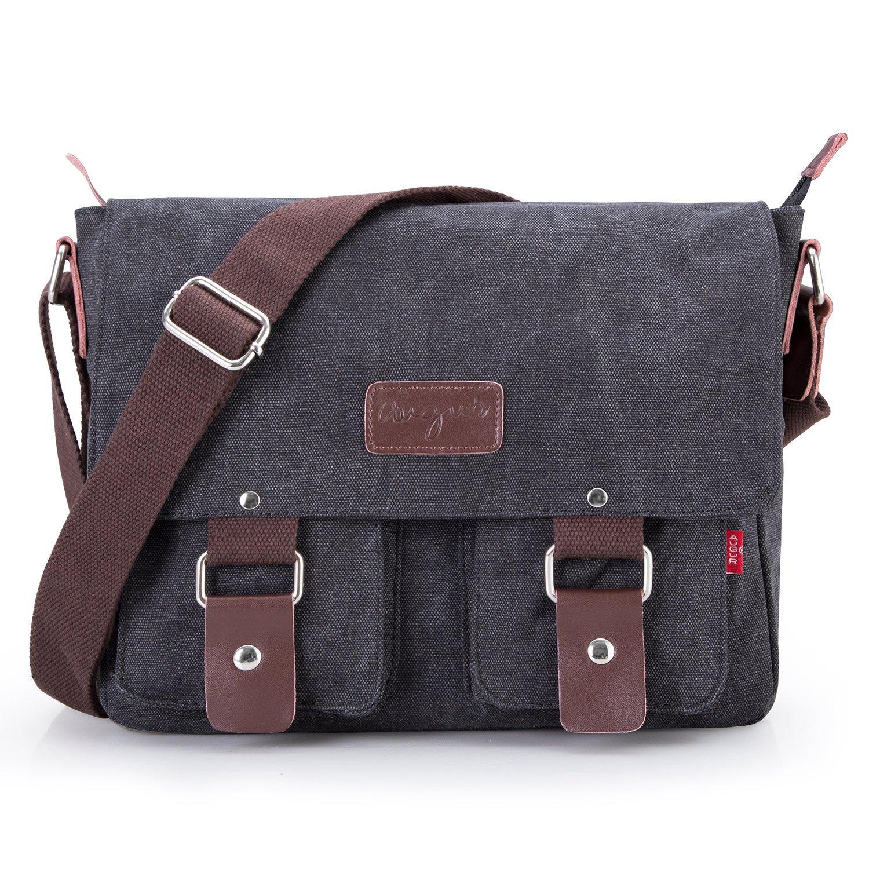Bienna Vintage Canvas Messenger Bag Satchel Laptop Over Shoulder Crossbody Side Bags with Zipper for Men Women School Outdoor Sports EDC 13''-Black