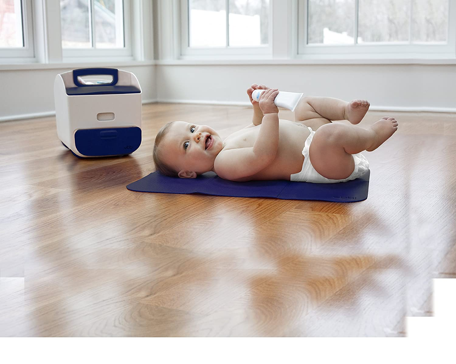 Ubbi Diaper Storage Caddy and Changing Mat Gray