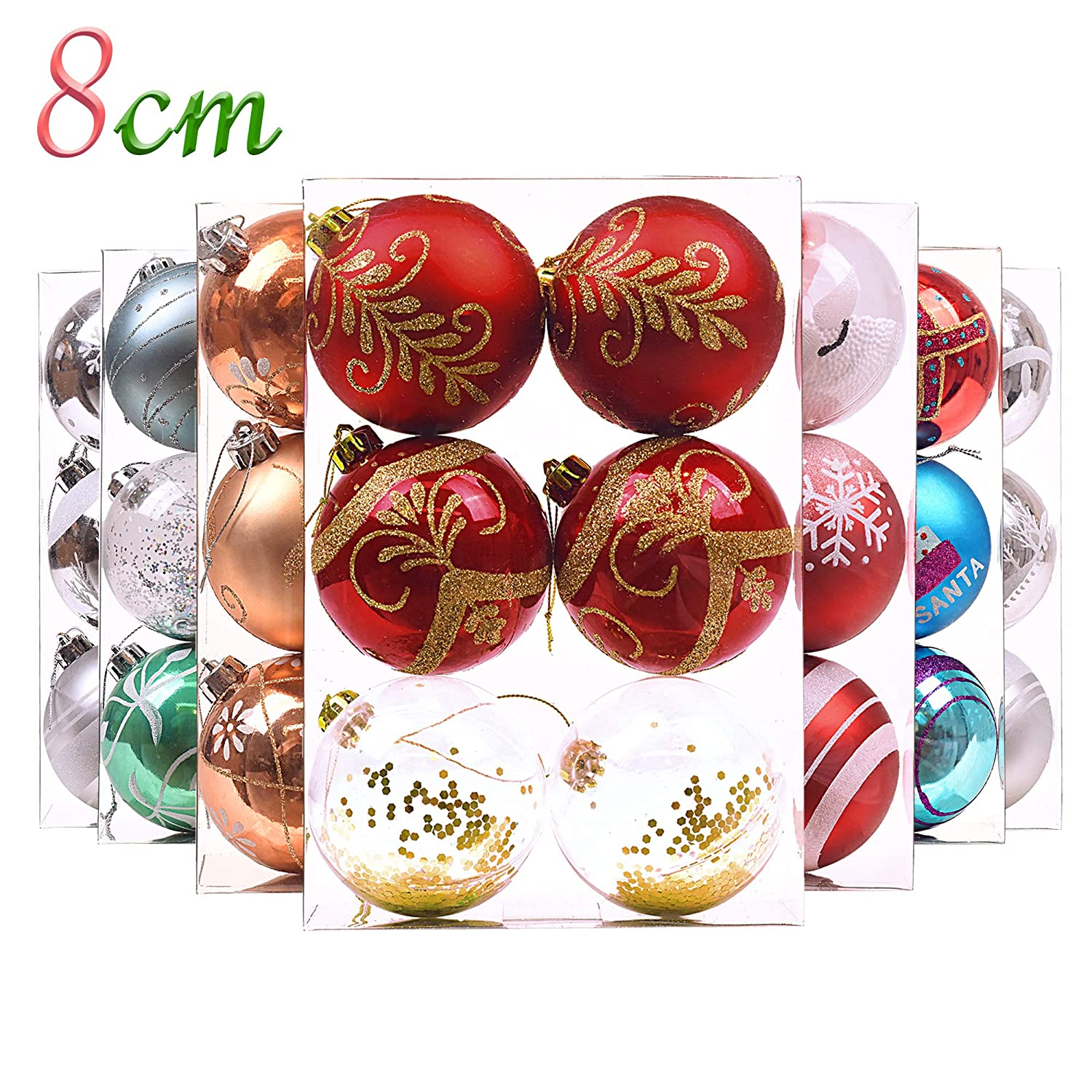 Valery Madelyn 6Pcs 3'/8cm Festive Fun Multicolor Christmas Baubles Ornaments, Shatterproof Christmas Tree Large Balls Pendants Decorations Sales