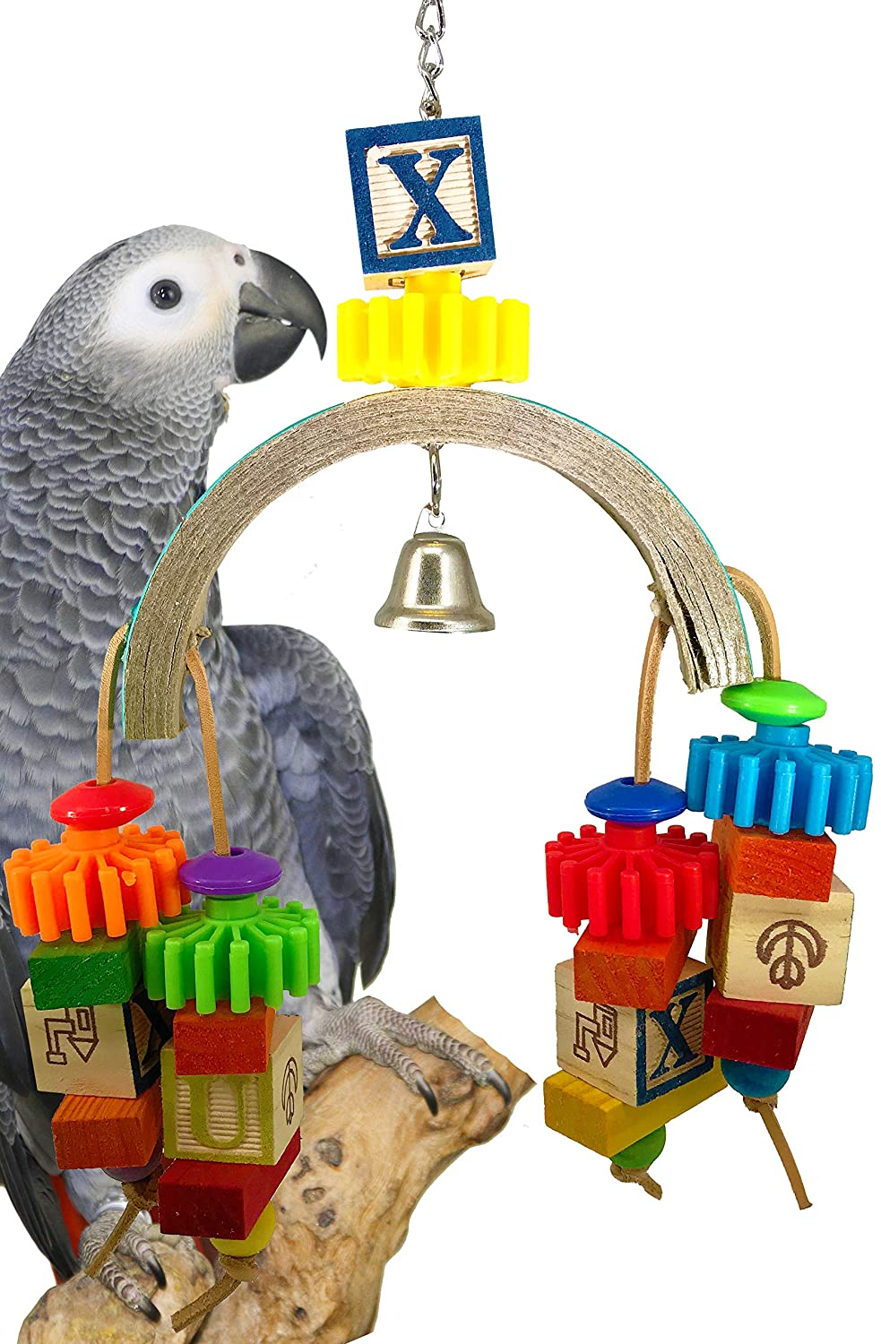 Bonka Bird Toys 1640 ABC Gear Bird Toy Parred cage Toys Cages Foraging African Grey Amazon.