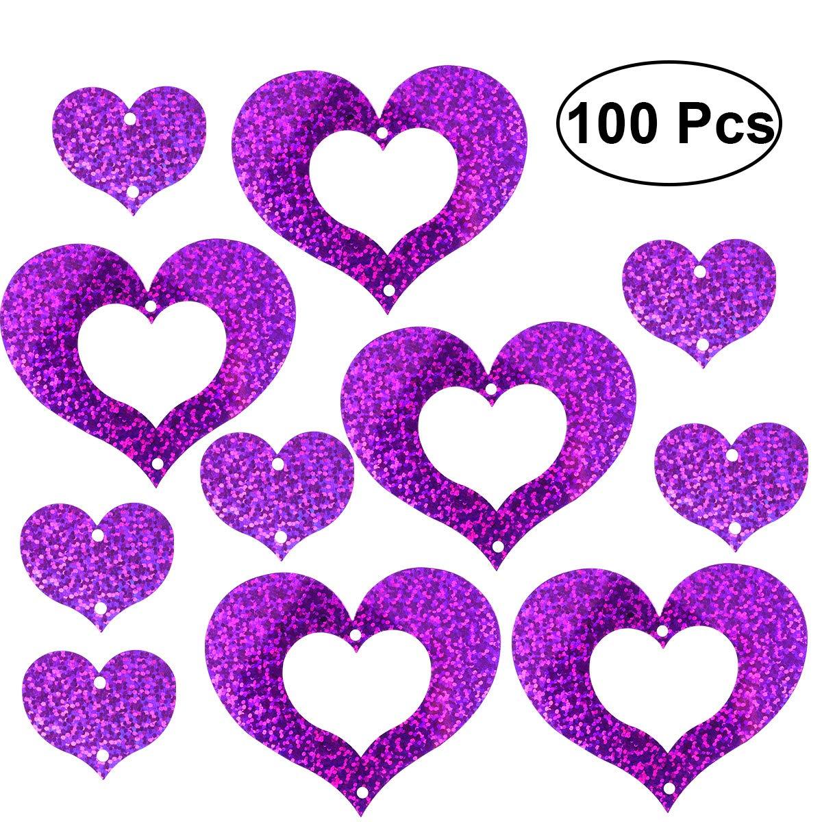 100pcs Laser Coeur Guirlande Ballon Suspendu Décor De Mariage Anniversaire Mariage Proposition De Mariage Parti Fournitures (Violet)