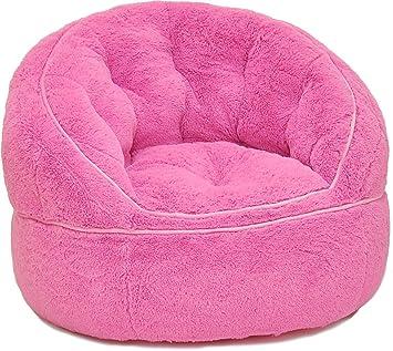 Heritage Kids Toddler Rabbit Fur Bean Bag Chair Pink