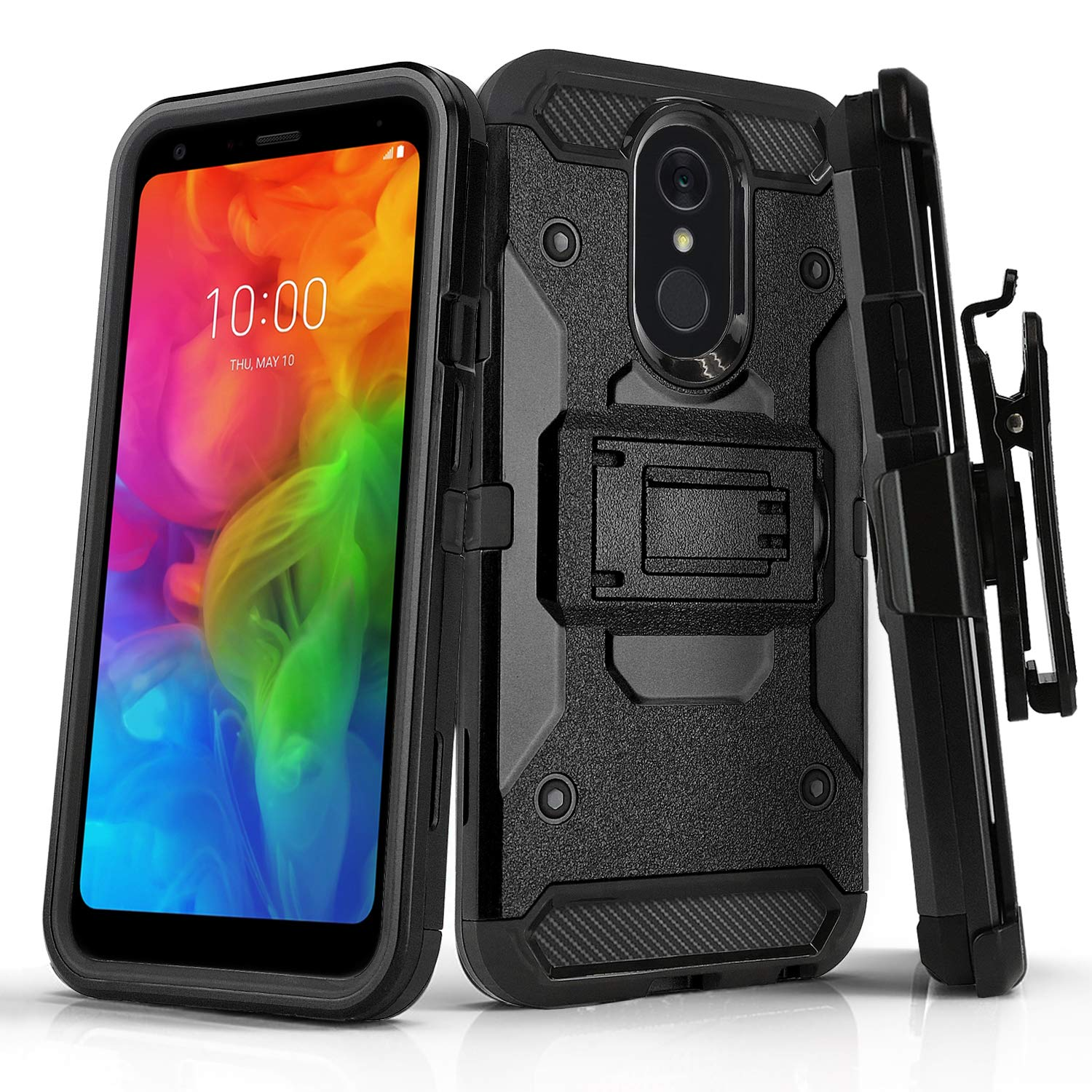 Phone Case for [LG Q7 Plus (T-Mobile, Metro PCS)], [Tank Series][Black]  Shockproof Defender Heavy Duty Cover with [Kickstand] & [Swivel Belt Clip