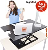 X-Elite Standing Desk by Stand Steady - Instantly Convert any Surface to a Stand Up Desk! Large Sit to Stand Desk Converter (Black)! (X-Elite XL)