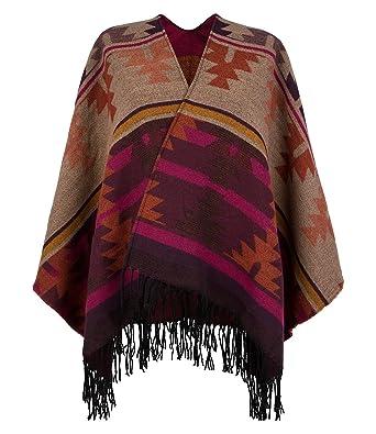 SIX Wärmender Poncho Im Ethno Muster, Beige, Bordeaux Rot, Pink,
