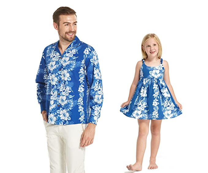 62d7e8ab8543 Made in Hawaii Matching Father Daughter Long Sleeve Shirt Elastic Strap  Dress in Blue Floral in White: Amazon.co.uk: Clothing