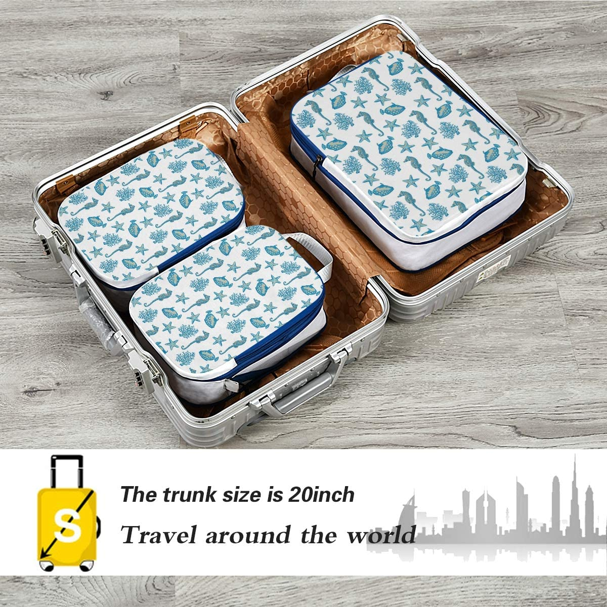 LUPINZ Starfish Coral Seahorse Travel Luggage Packing Organizers 3 Pieces Travel Cubes