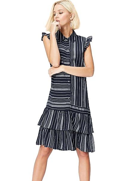 a7e8dbe10d26 FIND Vestito Smanicato con Balze Donna  Amazon.it  Abbigliamento