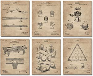 """Billiards Patent Wall Art Prints - 8""""x10"""" Set of 6 - Game Room Decor - Gift For Pool Players - Snooker Artwork"""