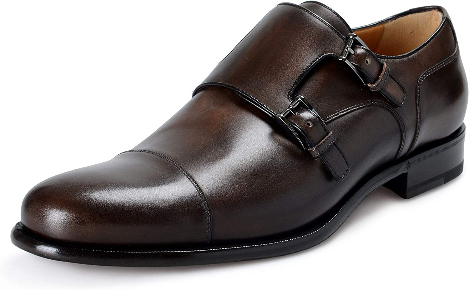 Leather Double Buckle Loafers Slip