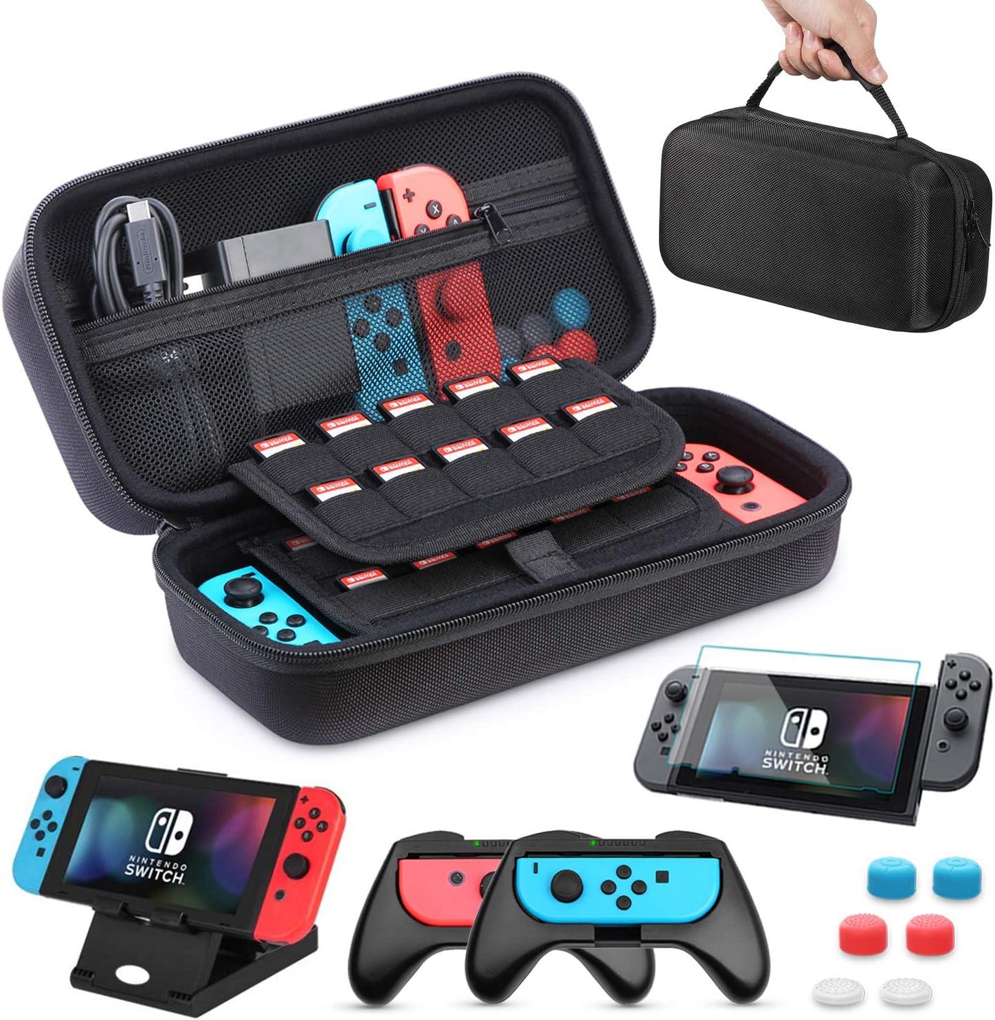 Funda para Nintendo Switch, HEYSTOP 11 en 1 Nintendo Switch Estuche portátil Incluye 2 Joy-Con Grips para Nintendo Switch, PlayStand ajustable, Protector de Pantalla con 6 Tapas de Agarre para Pulgar: Amazon.es: Electrónica
