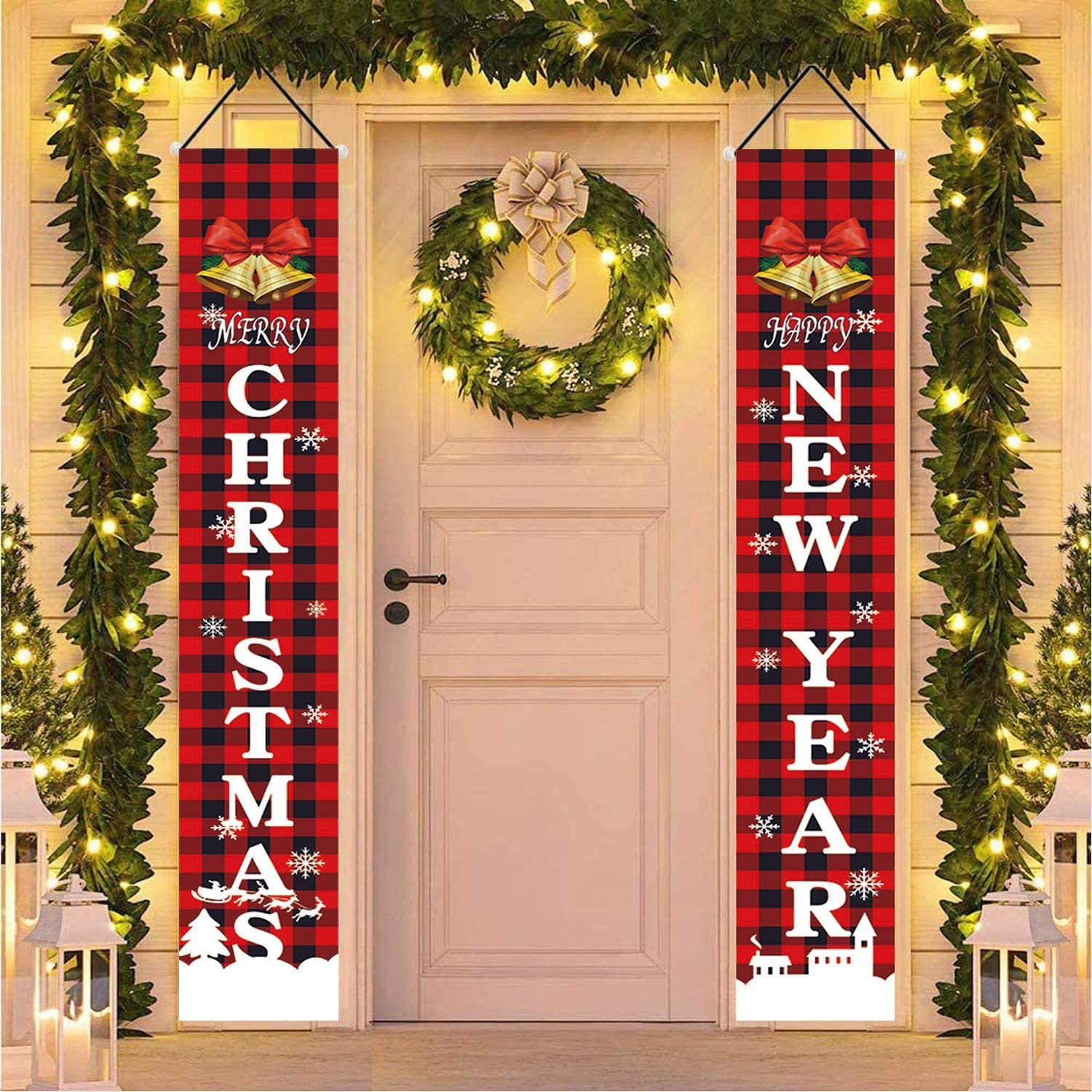 Probsin Merry Christmas Decorations Porch Signs Red Buffalo Plaid Banners Xmas Holiday Day Decor Happy New Year for Home Front Door Outdoor Wall Hanging Decor Yard Indoor Party Lawn Garden Decoration