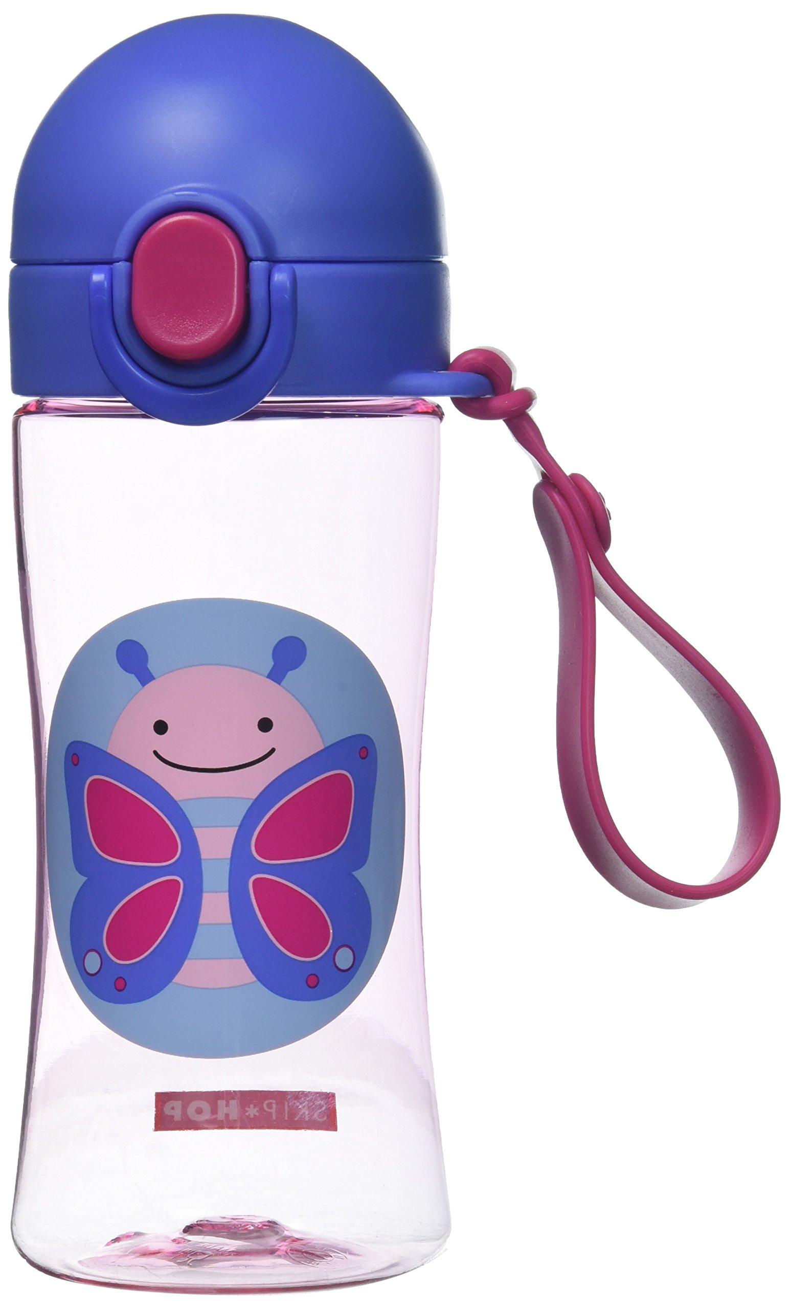 Skip Hop Zoo Lock-Top Sports Bottle, Butterfly, Pink