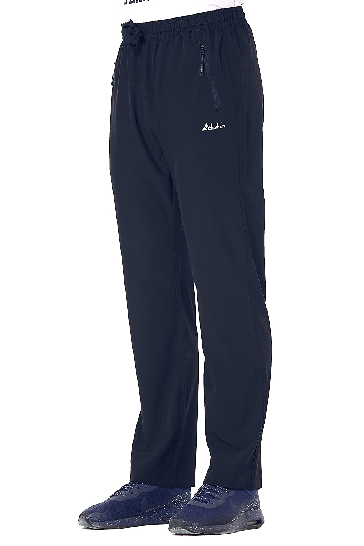 Clothin Men's Elastic Waist Drawstring Pants Stretchy Front Zipper Pockets Track Sport Running Sweatpant