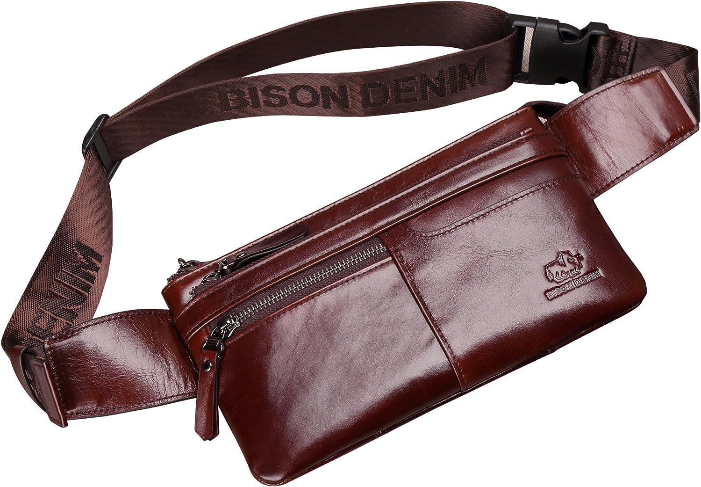BISON DENIM Leather Waist Pack Fanny Pack Hip Purse Travel Hiking Bum Bag Belt Bag for Men Women