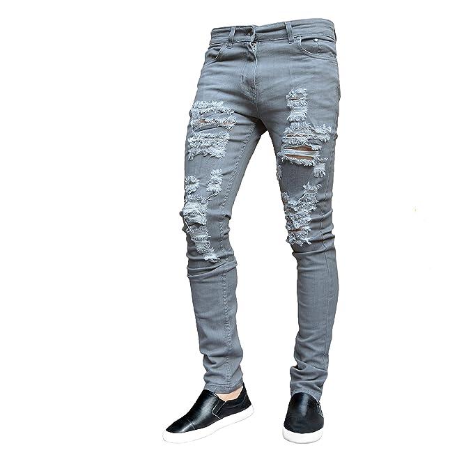 c6d40cad951ba ClassyDude Mens Ripped Slimfit Skinny Jeans Stretch Denim Distress Frayed  Biker Jeans Boys  Amazon.co.uk  Clothing