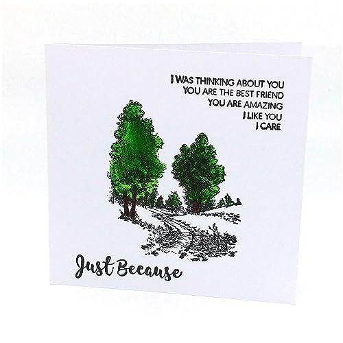 Carte De Voeux Anniversaire Joyeux Anniversaire Just Because Carte De Voeux Nature Carte Anniversaire Pour Homme Femme Carte Double 11 5 X 11 5 Cm Plus Enveloppe Amazon Fr Handmade