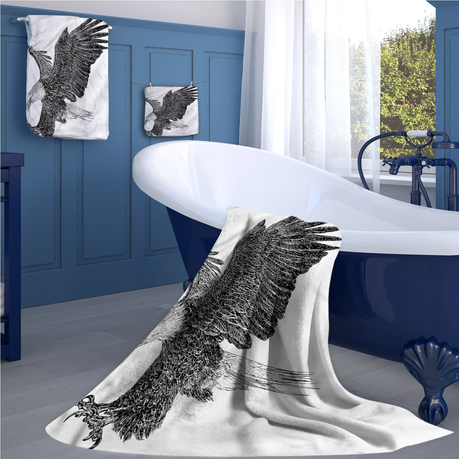 alisoso Animal large hand towels set Bald Eagle Swoop Hand Drawn Sketchy Figure Flying Hunter Wildness Artwork gym hand towels set Black Pale Grey