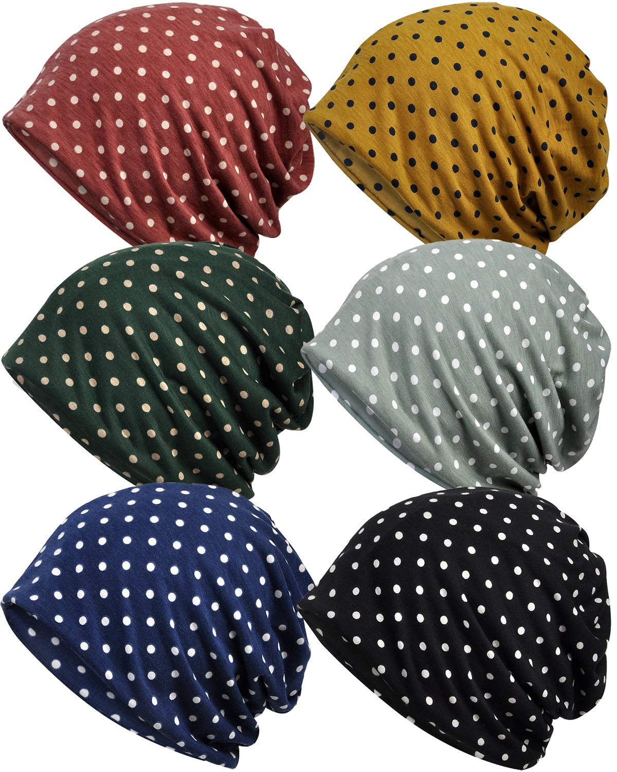 Ababalaya Women's Kinds of Lace/Floral/Print/Cotton Chemo Cap Hair Loss Beanie Nightcap Pack,Polka Dots-6 Pieces