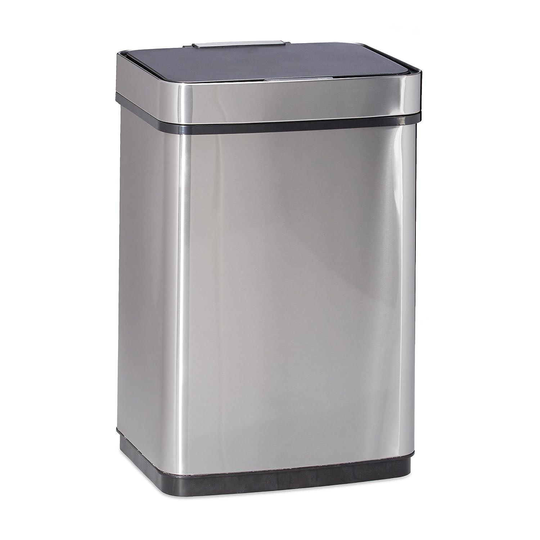 Relaxdays Poubelle bac /à ordures papier couvercle automatique acier inoxydable bross/é 50 litres HxlxP 61 x 42 x 31,5 cm argent/é
