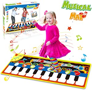 HOMOFY Piano Music Mat, Kids Early Educational Toys for 1 2 3 Year Old Boys Girls Baby Toddler Gift, 19 Piano Keyboard Dancing Mat Carpet Build-in Speaker & Recording Function