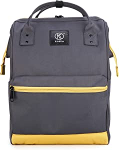 Kah&Kee Polyester Travel Backpack Functional Anti-theft School Laptop for Women Men (Deep GreyYellow, Large)