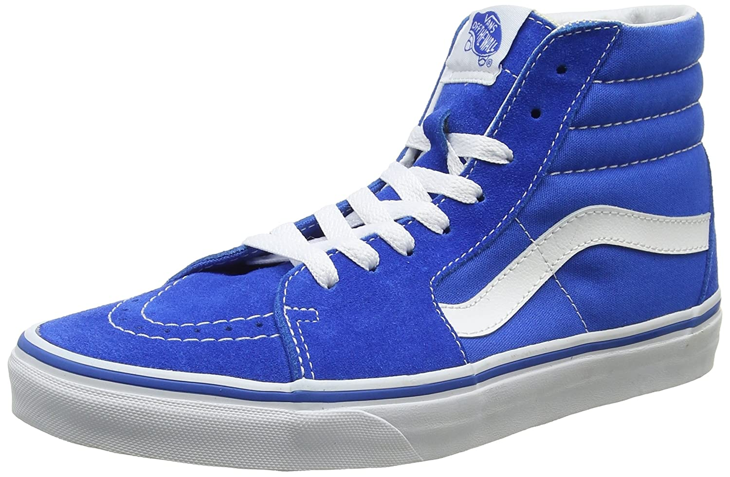 Vans Sk8-Hi Unisex Casual High-Top Skate Shoes, Comfortable and Durable in Signature Waffle Rubber Sole B01I2AYE7O 9.5 M US Women / 8 M US Men|Imperial Blue