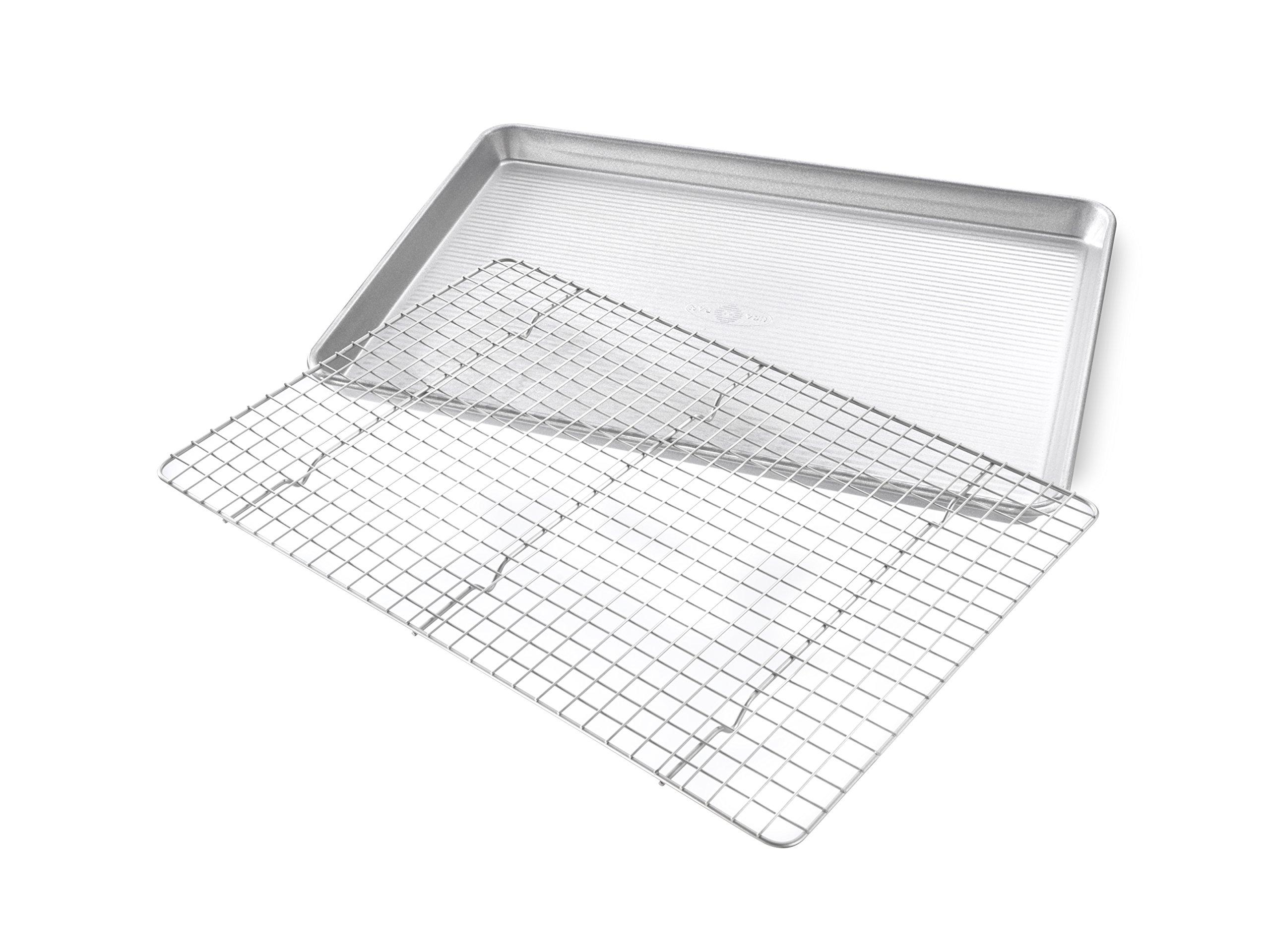USA Pan 1606CR Half Sheet Baking Pan and Bakeable Nonstick Cooling Rack, Metal by USA Pan (Image #2)