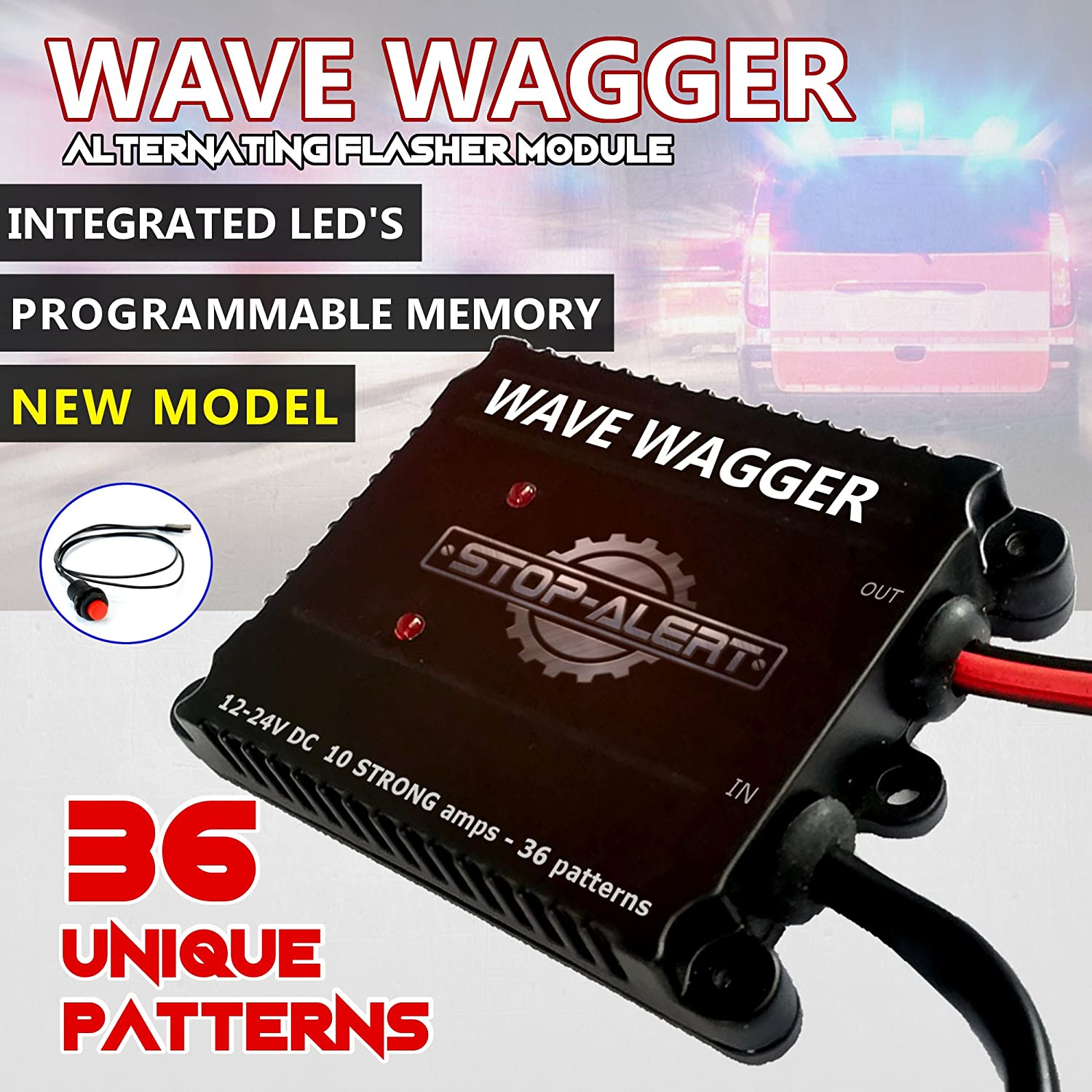 NEW 36 Pattern Wave Wagger HEADLIGHTS 10 AMPS Electronic Alternating Wig Wag Flasher HEAVY DUTY Relay for Emergency Trucks Police Cars & Ambulance - LED and Incandescent 12-24V