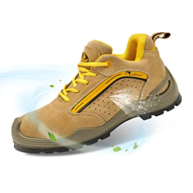 34c5c1e9c1 SAFETOE Mens Work Shoes with Steel Toe Lightweight Leather Work ...