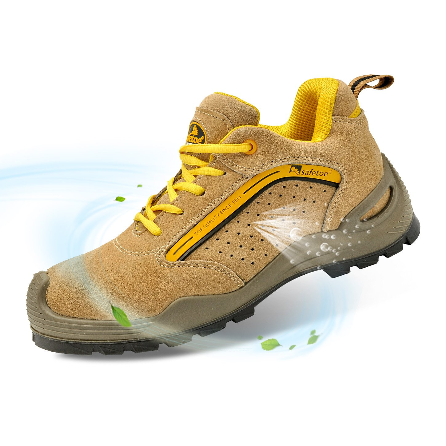 SAFETOE Mens Safety Work Shoes - L7296 Leather & Steel Toe Work Boots for Heavy Duty Work Wide Fit Yellow Size 11 US