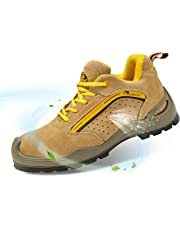 SAFETOE Mens Work Shoes with Steel Toe Lightweight Leather Work Trainer Safety Footwear