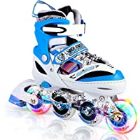 Kuxuan Kids Doodle Design Adjustable Rollerblades with Front and Rear Led Light up Wheels, Comic Style Inline Skates for Boys and Girls
