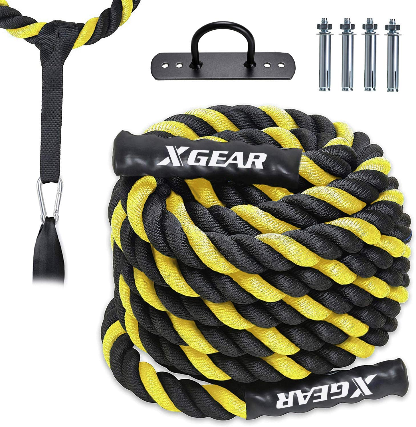 XGEAR Heavy Battle Rope with Upgraded Polyester Cover,Anchor Strap Kit Included – High Tensile Strength Poly Dacron Training Rope – Available in 1.5 Dia, 30 40 50ft.